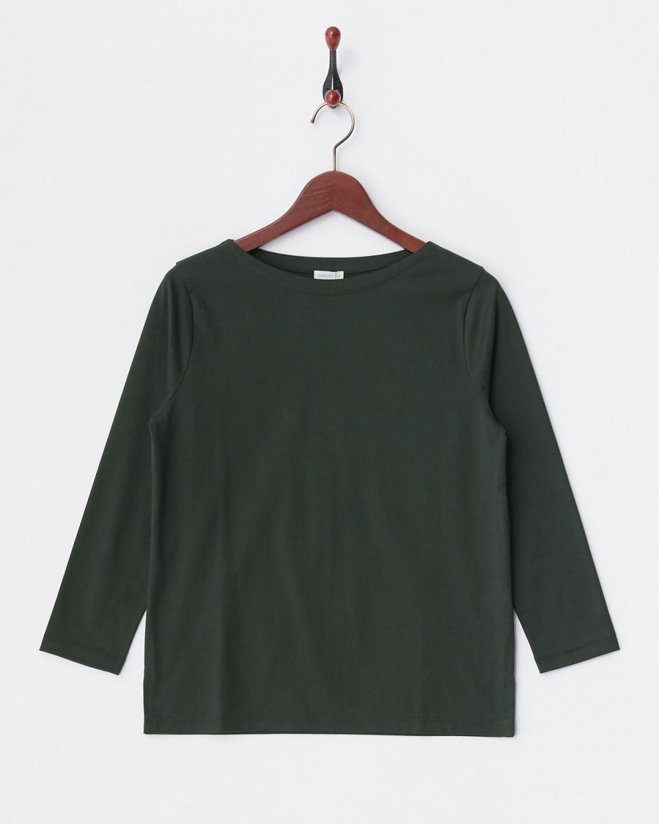 GALERIE VIE / dark green F cotton boat neck pullover ○ 23036203417 / Women's