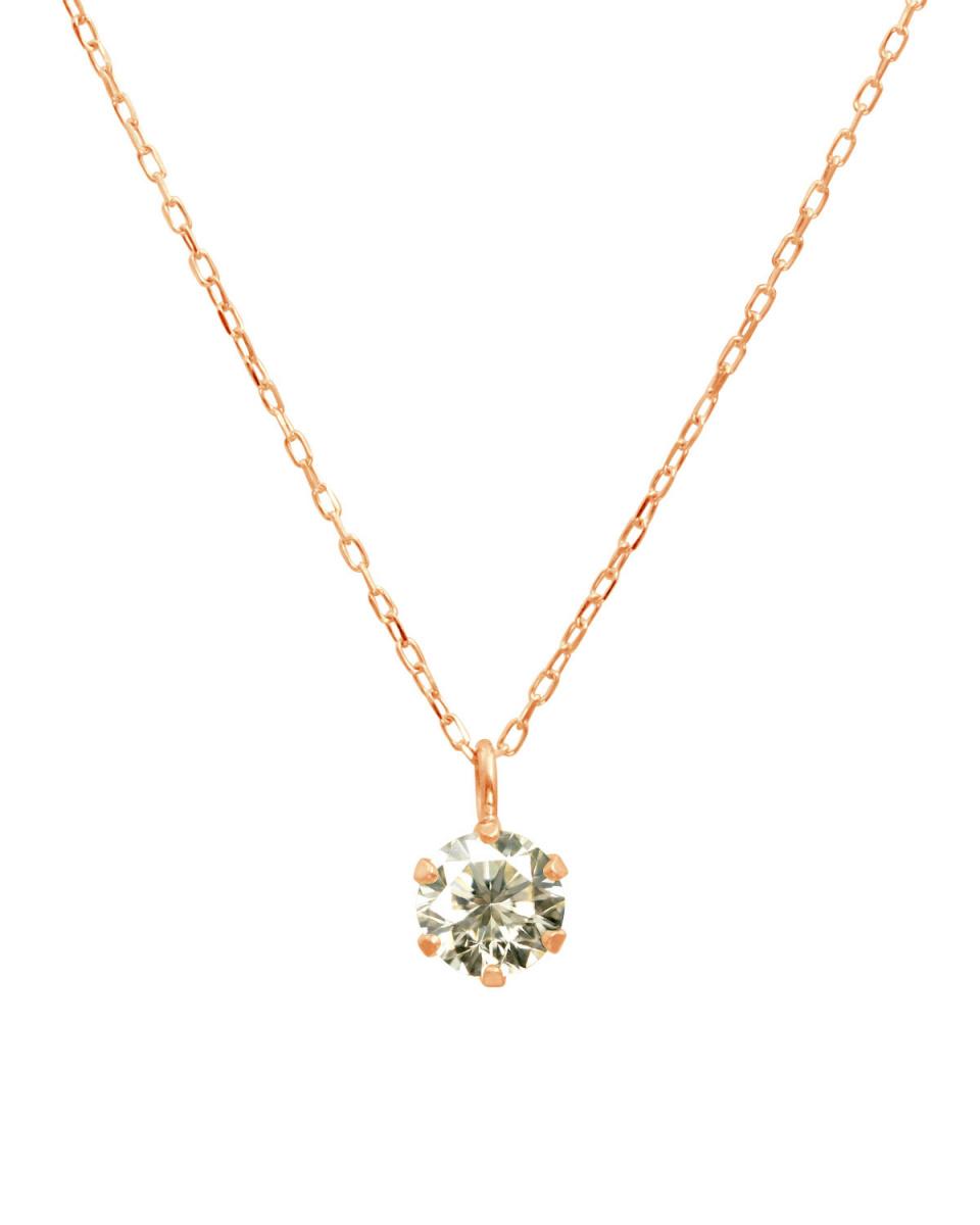 DIAMOND SELECTION / K18PG天然ダイヤモンド 0.3ct SIクラス あずきチェーン ネックレス○NSII-03CT-SI-A40-K18PG / ウィメンズ