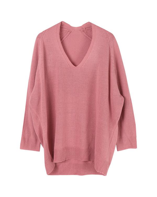 ur's / pink V-neck oversize knit / Women's