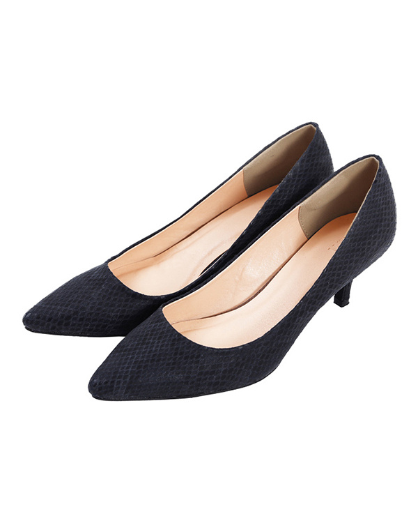 UR的/ Python的/黑色6厘米鞋跟尖的鞋头泵