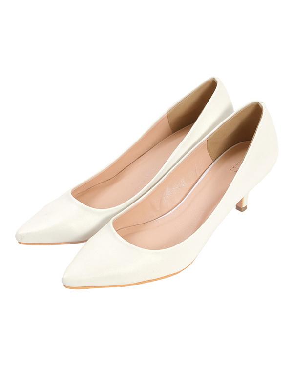 UR的/ PU /白色6厘米鞋跟尖的鞋头泵