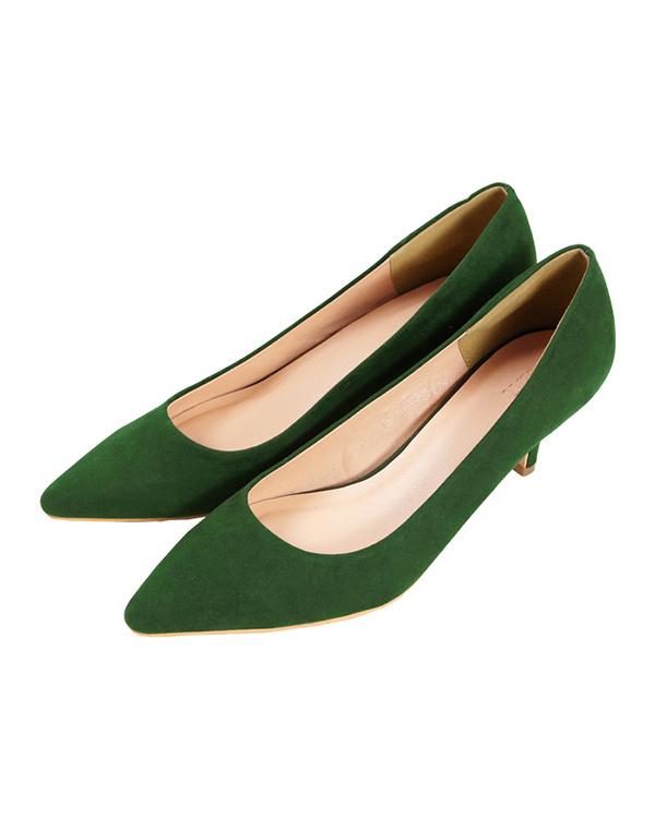 UR的/麂皮/綠色6厘米鞋跟尖的鞋頭泵