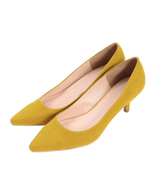 UR的/麂皮/芥末6厘米鞋跟尖的鞋头泵