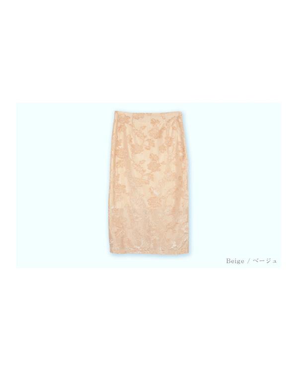 ur's / ベージュ ジャガード風ベロアタイトスカート