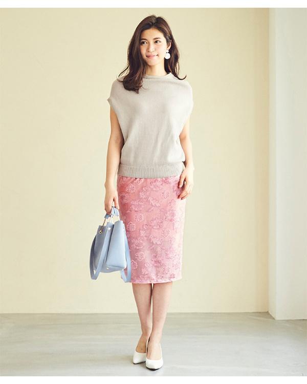 ur's / ピンク ジャガード風ベロアタイトスカート