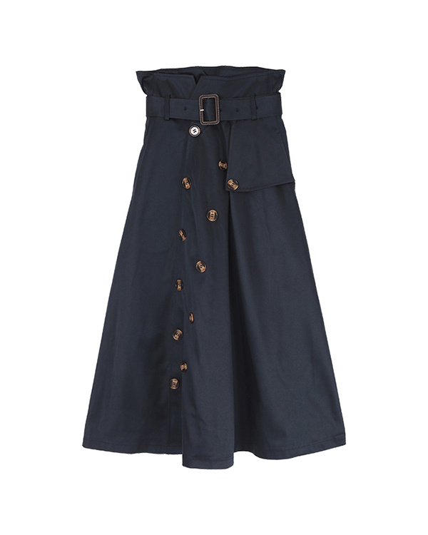 ur's / navy trench-style flare skirt