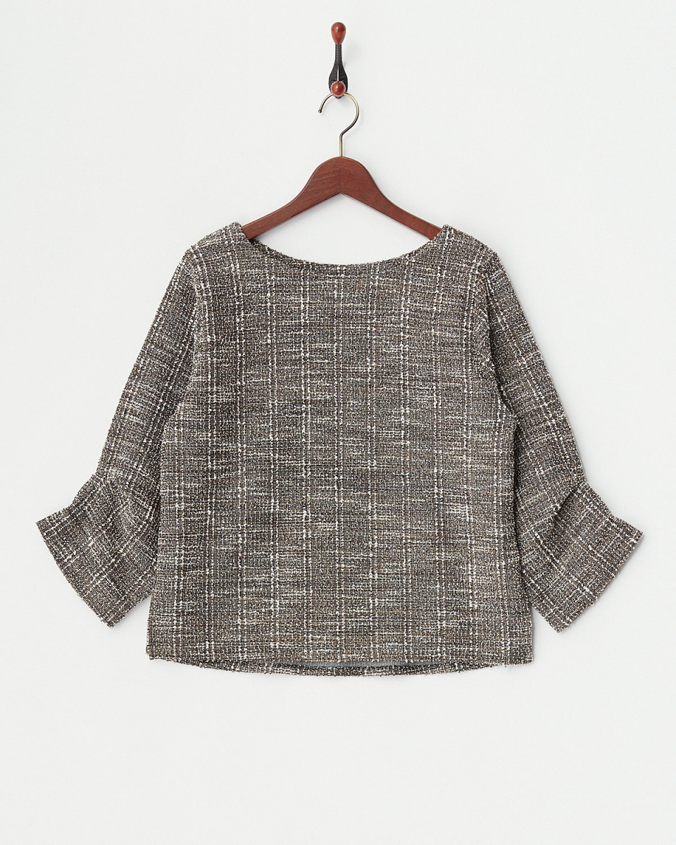 epidemique / Brown sleeves tack tweed pullover ○ 251-21031 / Women's