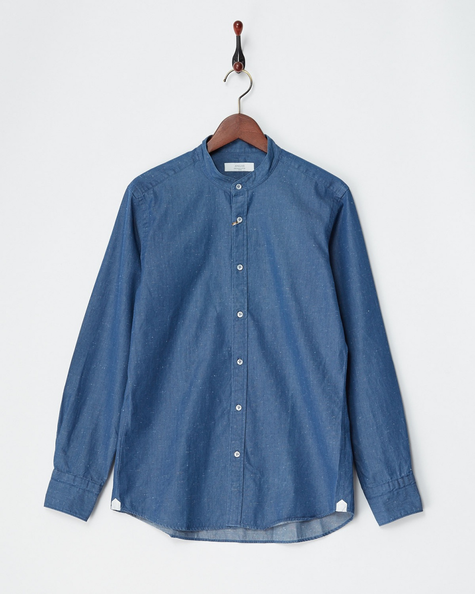 Angure / navy indigo band collar shirt