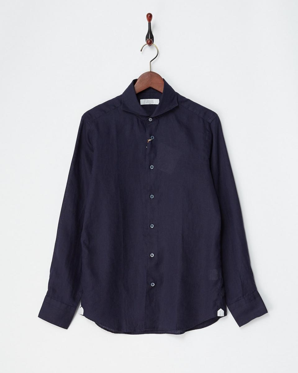 アングレー / ネイビー リネンデラベシャツ