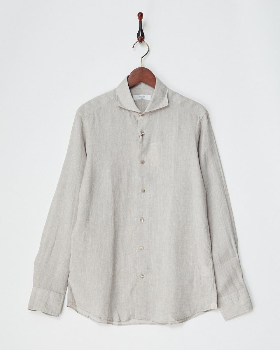 Angure /淺米色亞麻印花襯衫