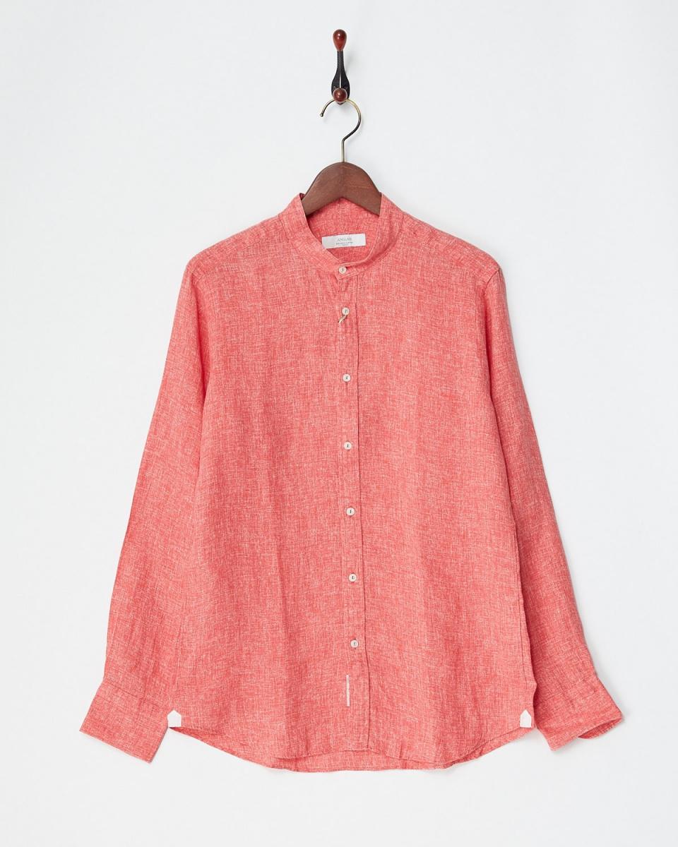 Angure / red linen band collar shirt