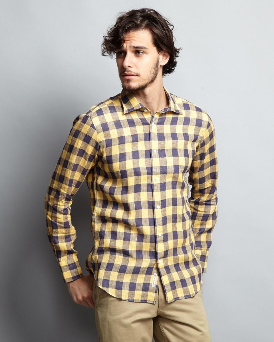 Angure / yellow linen de la Baie check shirt
