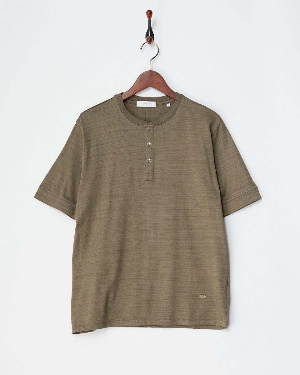 アングレー / ライトブラウン コットンデラベ天竺ヘンリーネックTシャツ