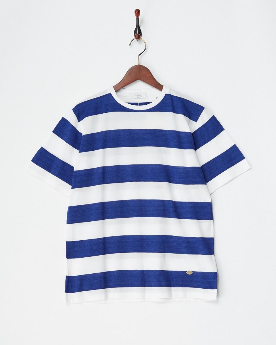 アングレー / ブルー/ホワイト 鹿の子ボーダーTシャツ