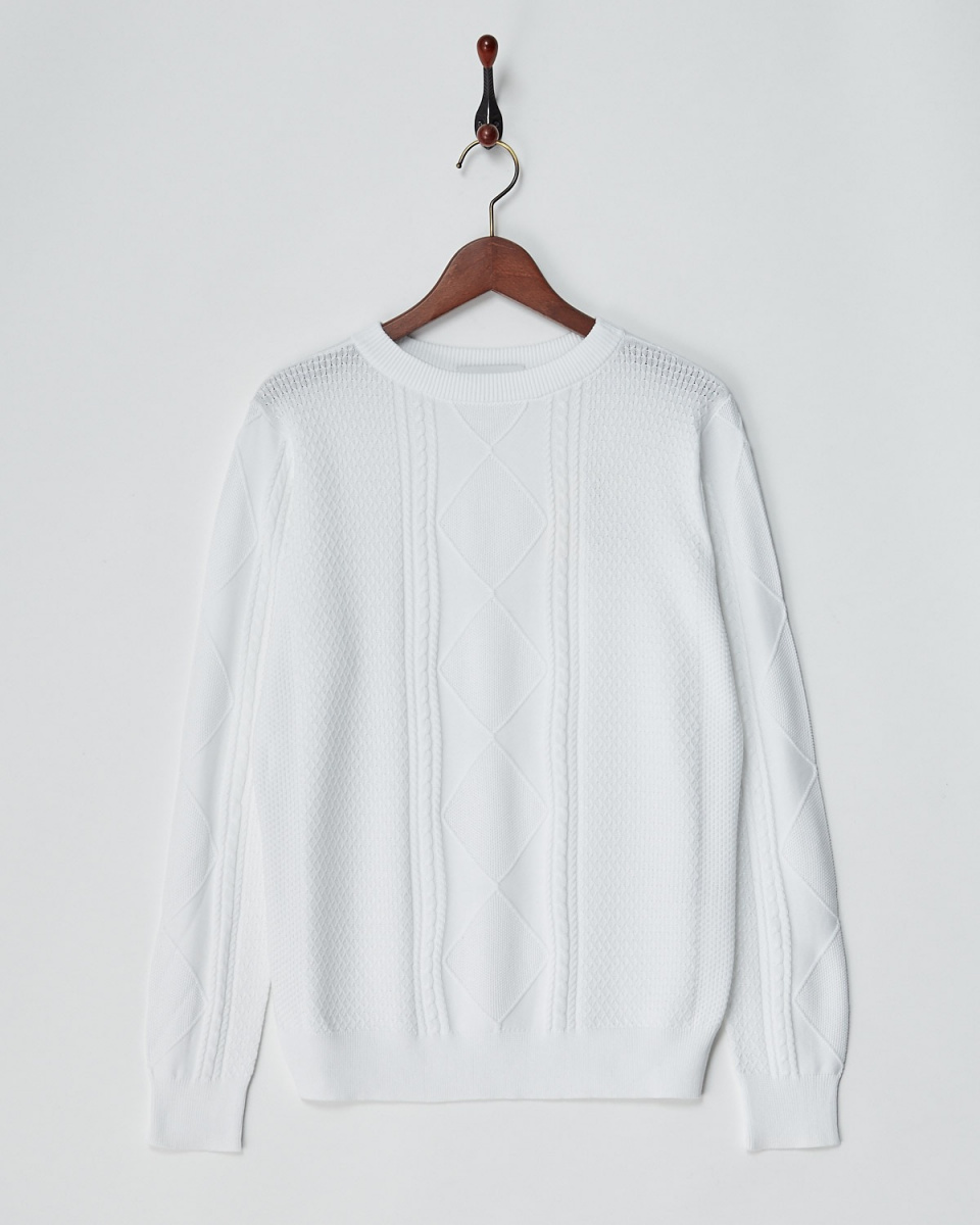 Angure / white cotton Alan pattern knit