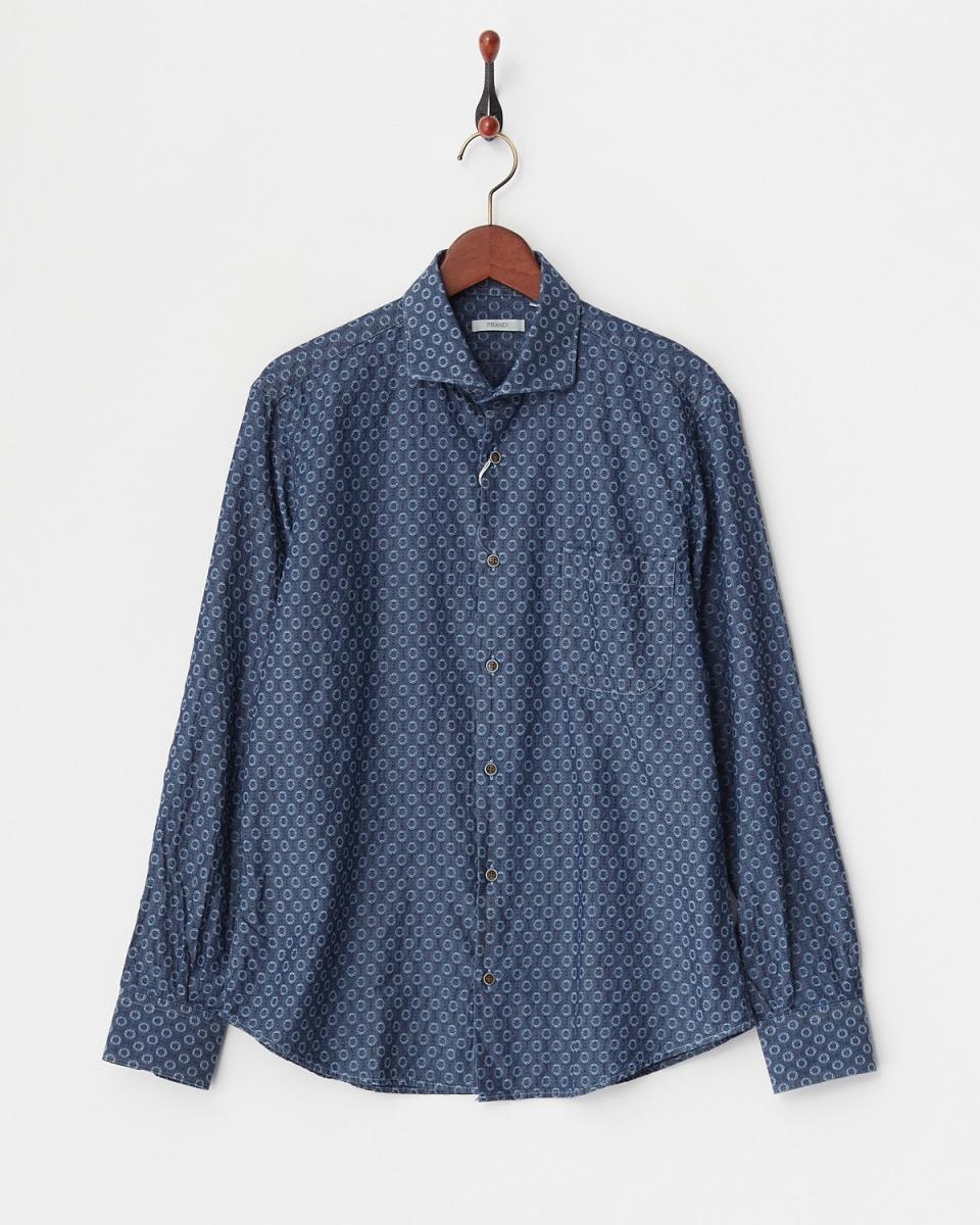 PRANDI / navy cotton dyed circle embroidered shirt / Men