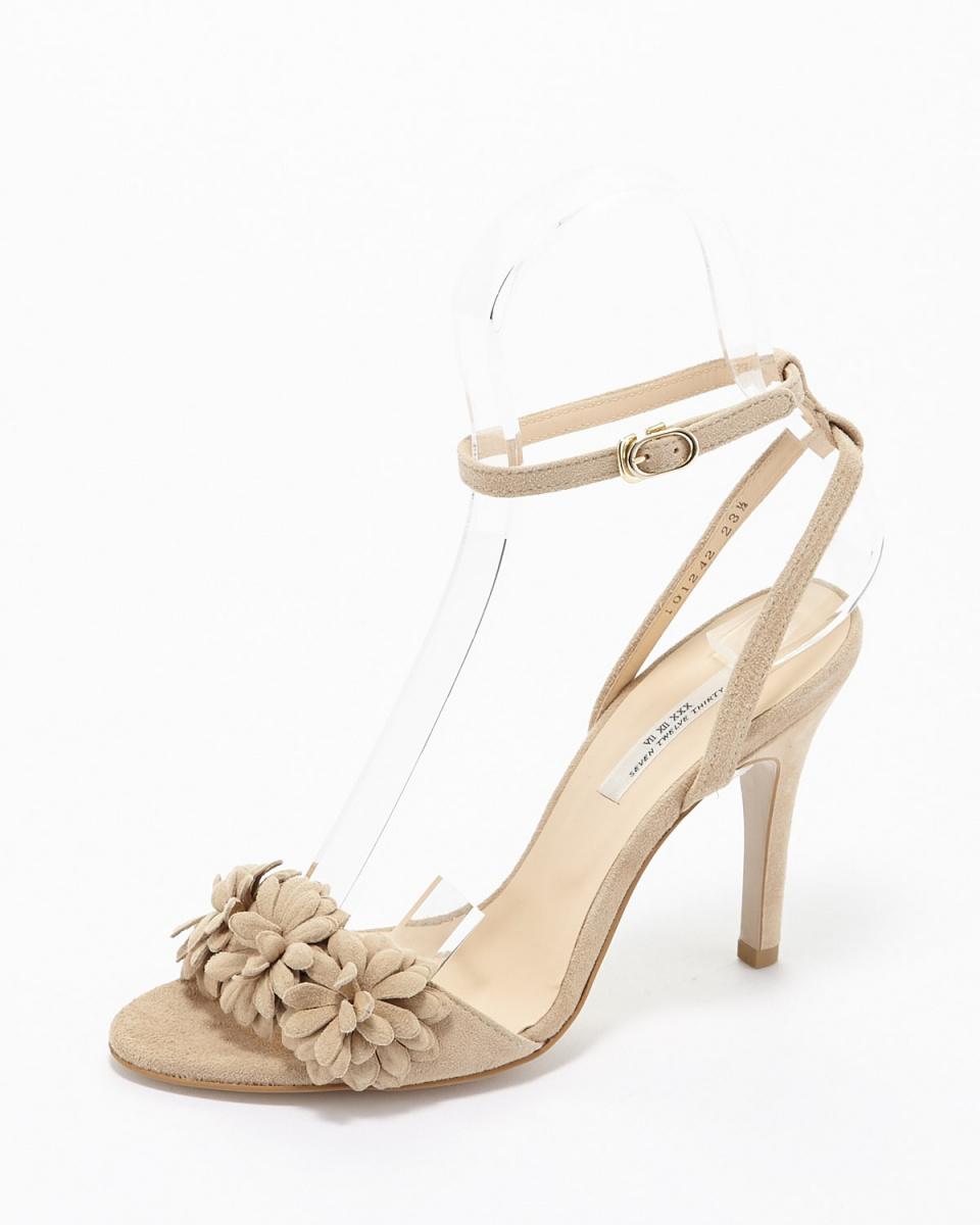 七十二點半/米色麂皮花圖案涼鞋