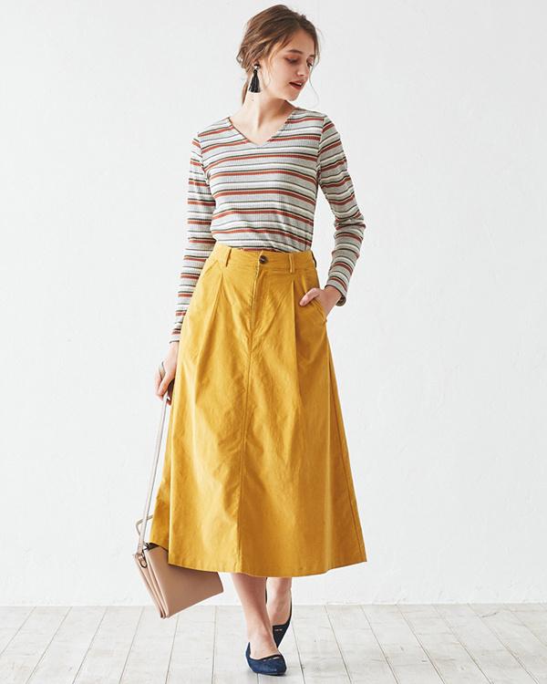 再找补一下/黄色前抱膝梯形裙○AQXP1725 /女装