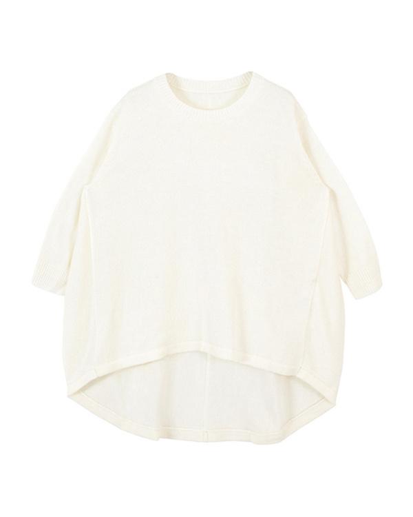 titivate / white Irregular hem 70% sleeve knit pullover ○ AQXQ1484 / Women's