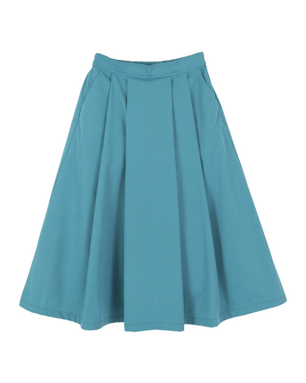 titivate / Blue front tuck flared skirt ○ ARXQ1689 / Women's