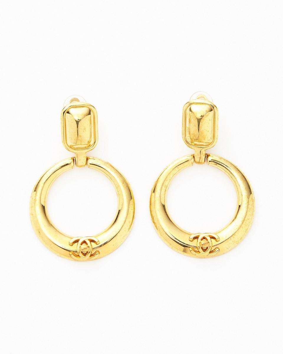 Chanel / gold color ccc- here mark hoop earrings / Women's