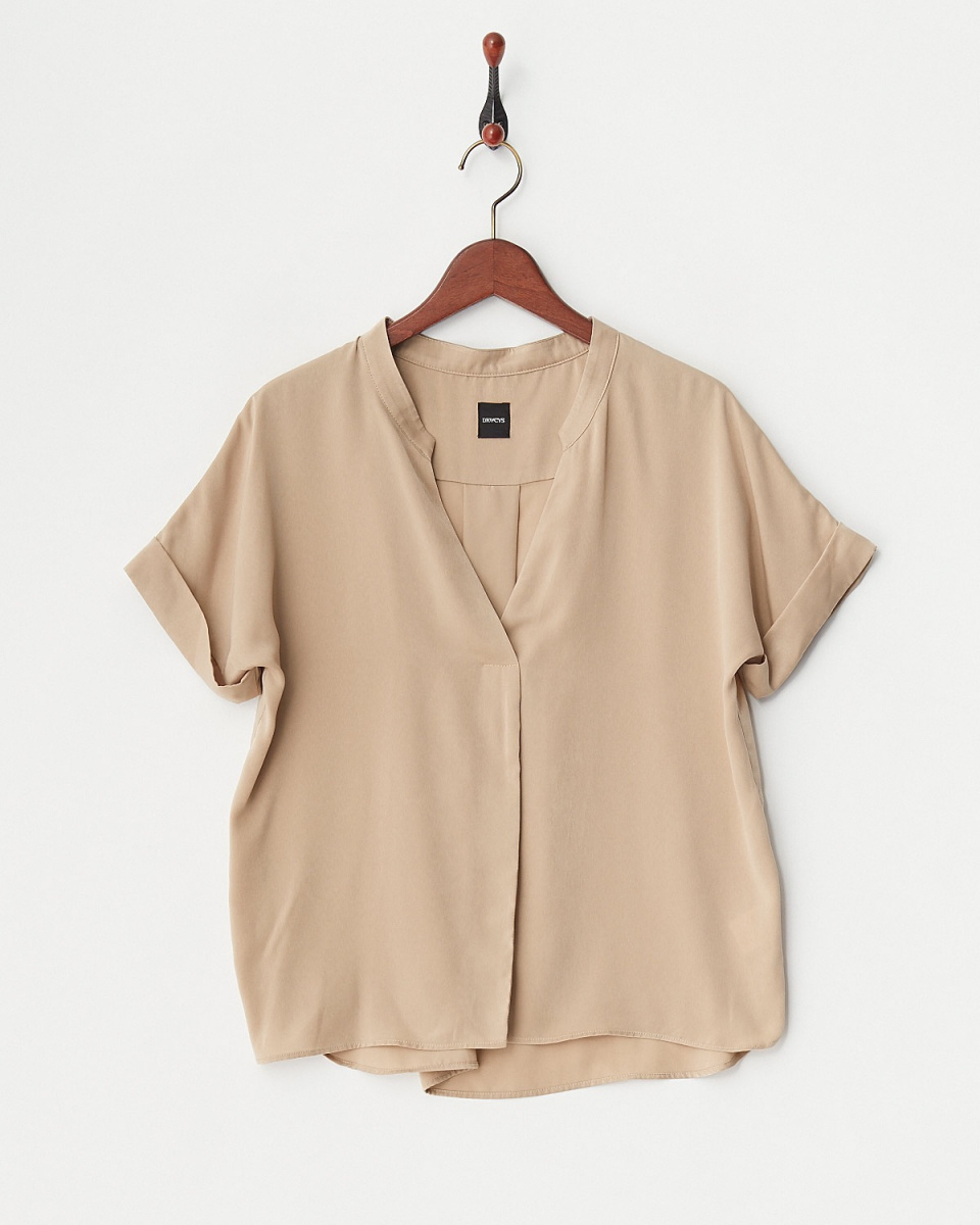 DRWCYS /米色按鈕少掖襯衫○73181009 /女子