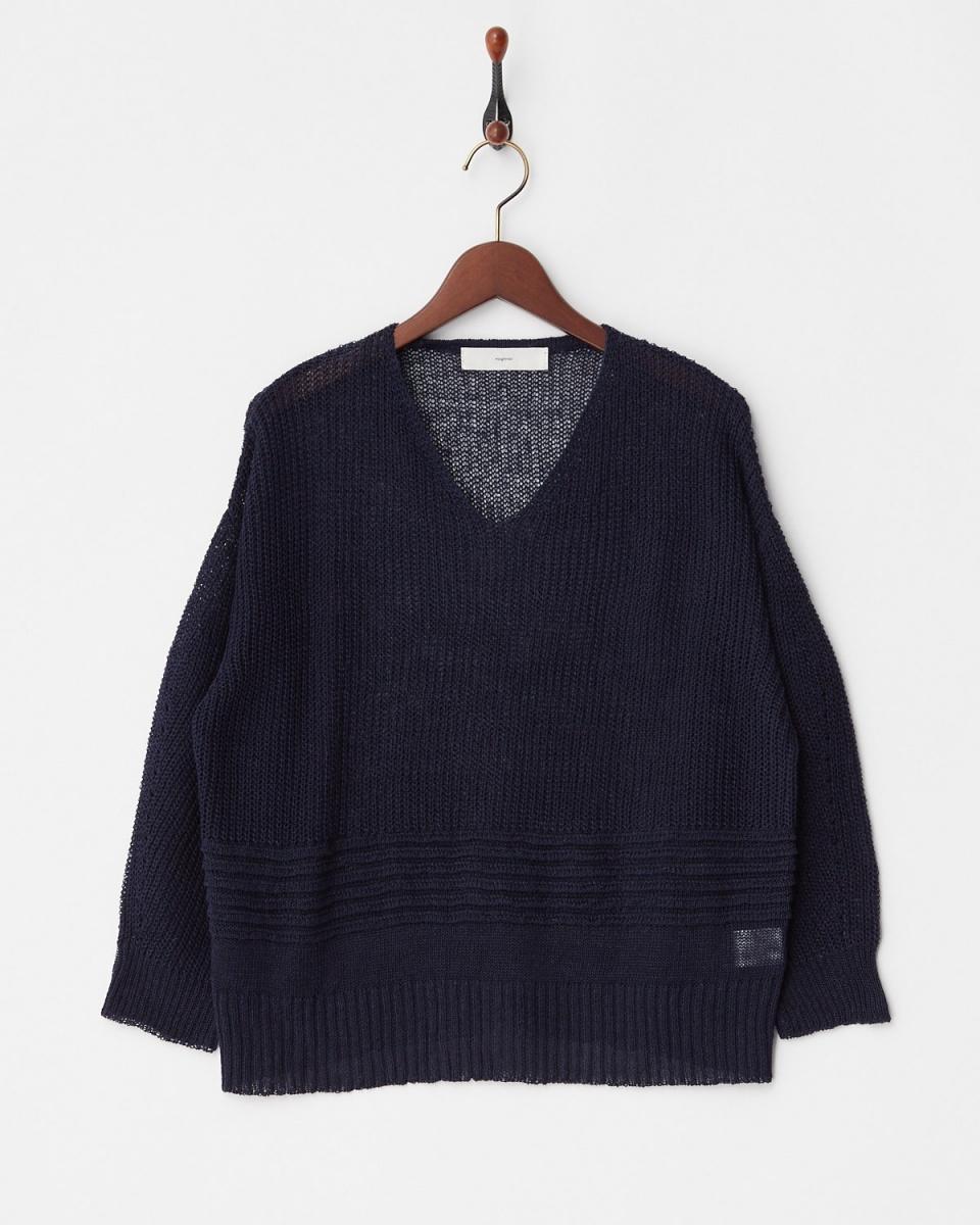vingtrois / Navy French linen V pullover knit ○ 148-96070 / Women's
