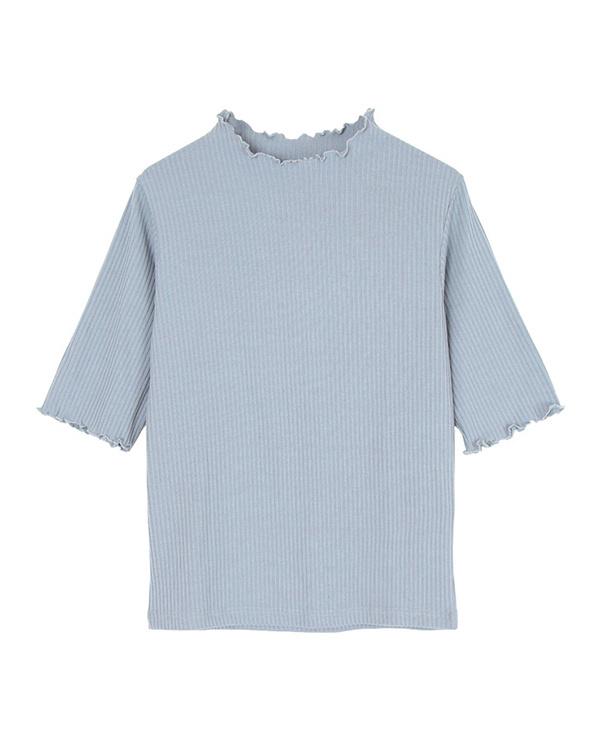 ur's / Blue ruffle high neck rib knit pullover / Women's