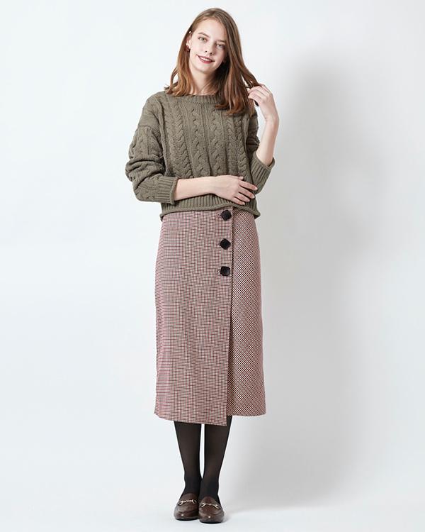 titivate / Bordeaux big button wrap tight skirt ○ AQXP1654 / Women's
