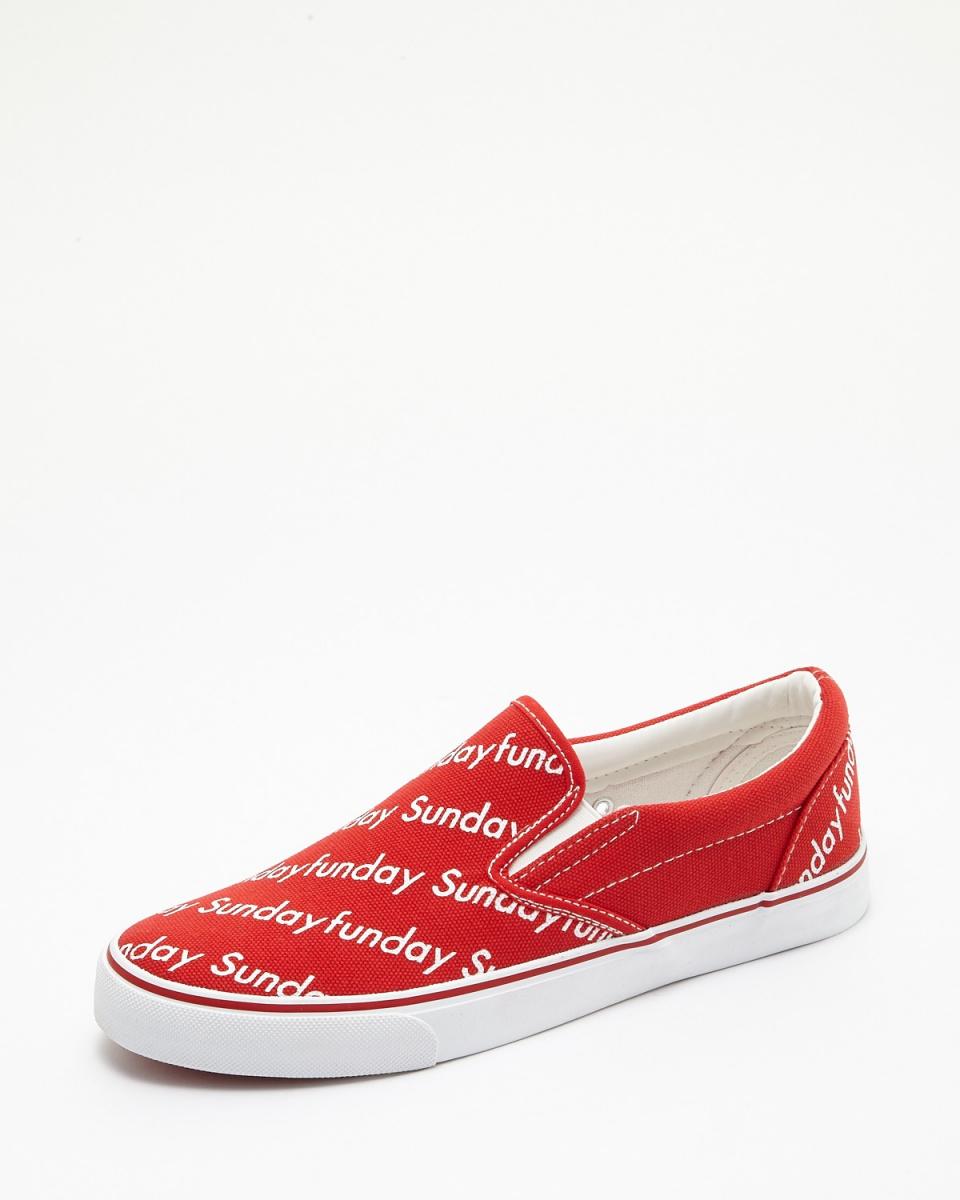 斯威克/紅色帆布英語防滑運動鞋○SPS028-5 /男裝