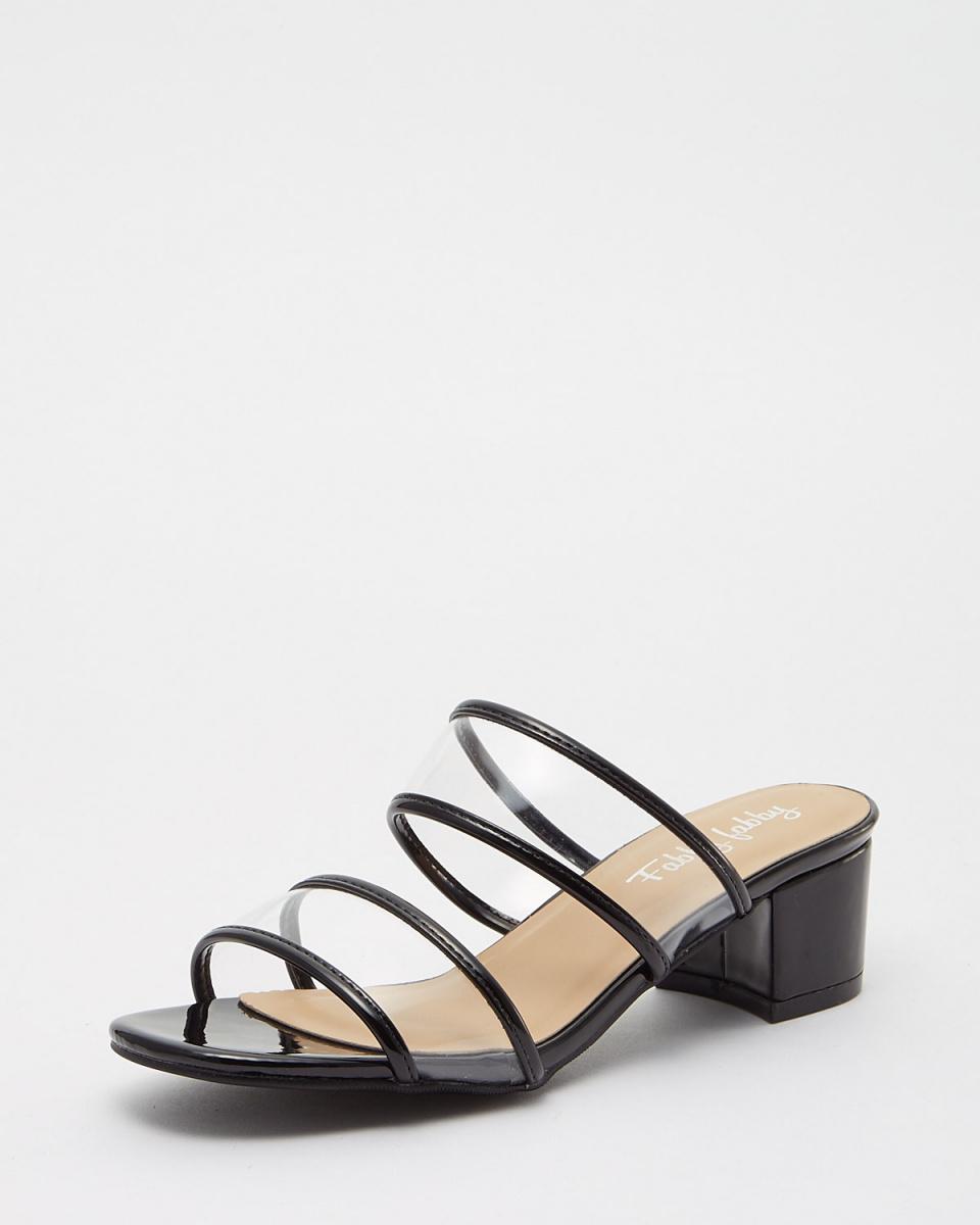 Fabby fabby /黑色透明雙帶涼鞋○33454-BK /女裝