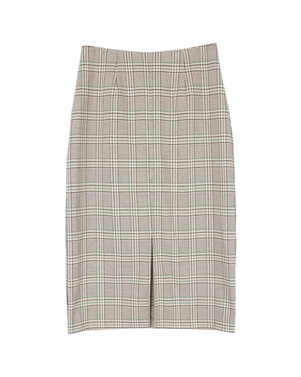 ur's / check / green front slit Midi-length tight skirt / Women's