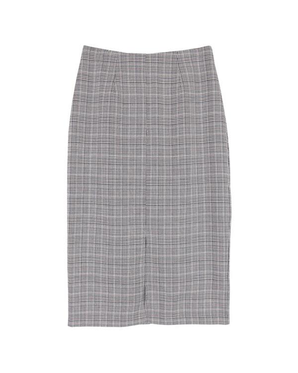 UR的/檢查/灰色前狹縫南部 - 長度緊身裙/女性