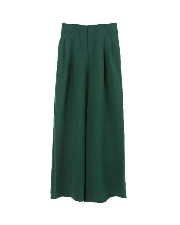 UR的/綠色高腰襉寬褲/女裝