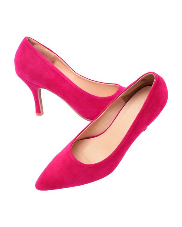 再找补一下/麂皮/粉红色8.5厘米鞋跟尖的鞋头泵/女装