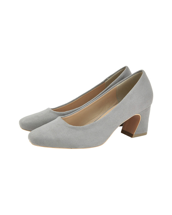titivate / gray Sukueatou flare heel pumps / Women's