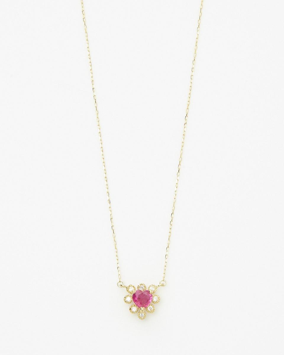 SEARS / K18YG大紅寶石0.3ct了&8P鑽石心臟形項鍊/女裝