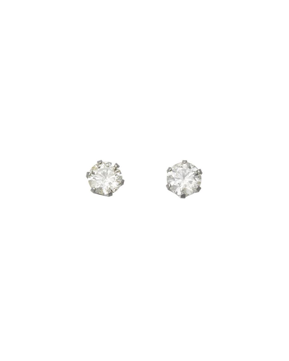 SEARS / Pt900 total of 0.5ct diamond six claw stud earrings / Women's
