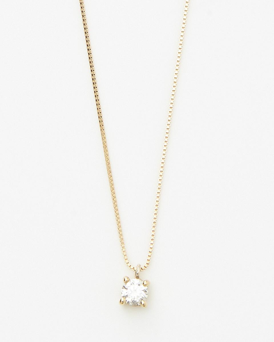 SEARS / K18YG 0.1ct diamond 4-point clasp necklace / Women's