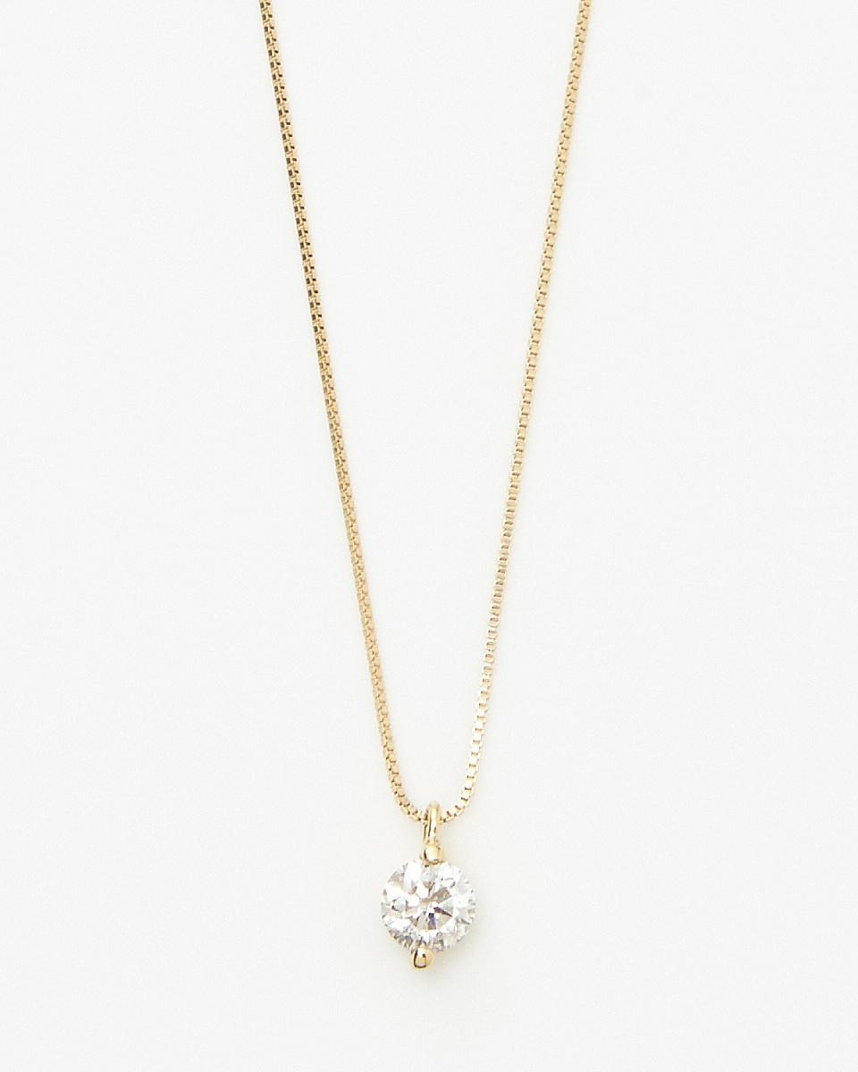 SEARS / K18YG 0.2ct鑽石兩點小熊項鍊/女裝