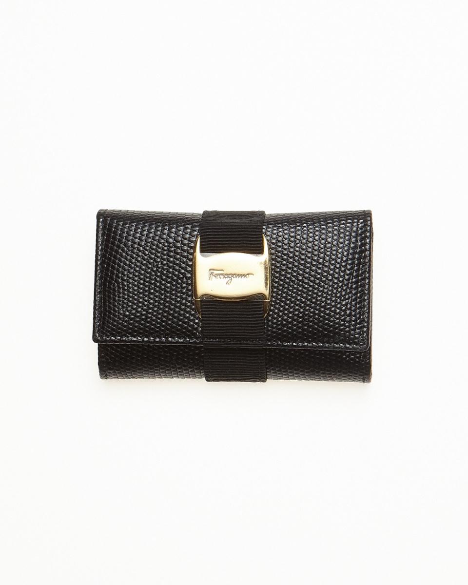 Ferragamo / black Vala ribbon key case
