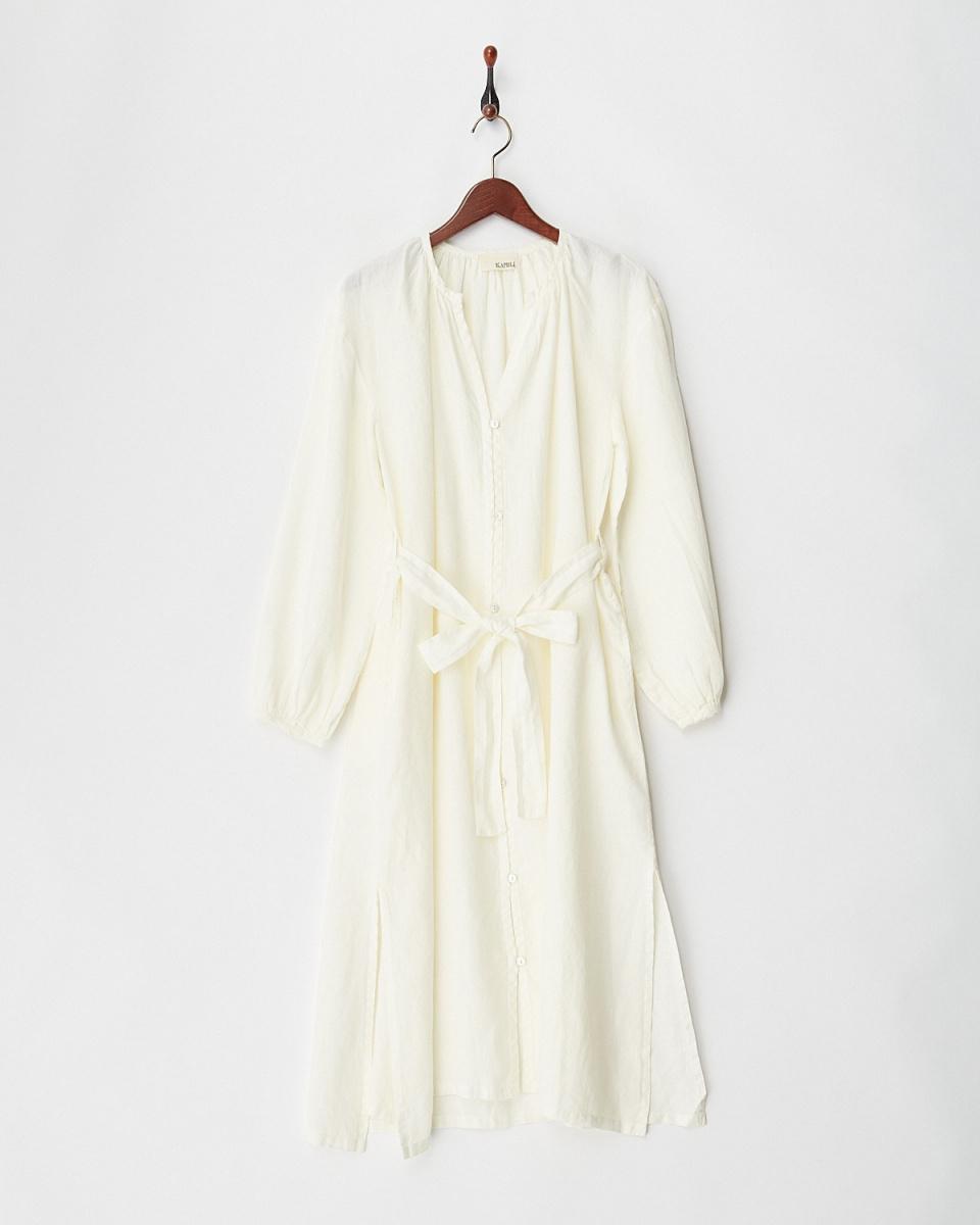 KAMILi / WHITE FRENCH LINEN SHIRTS DRESS / ウィメンズ
