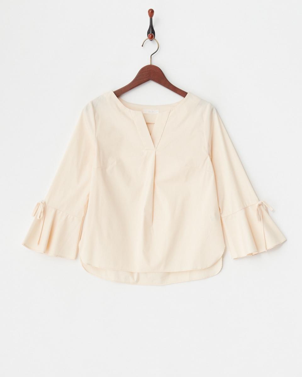 MIIA /淺米色耀斑套V領上衣/女