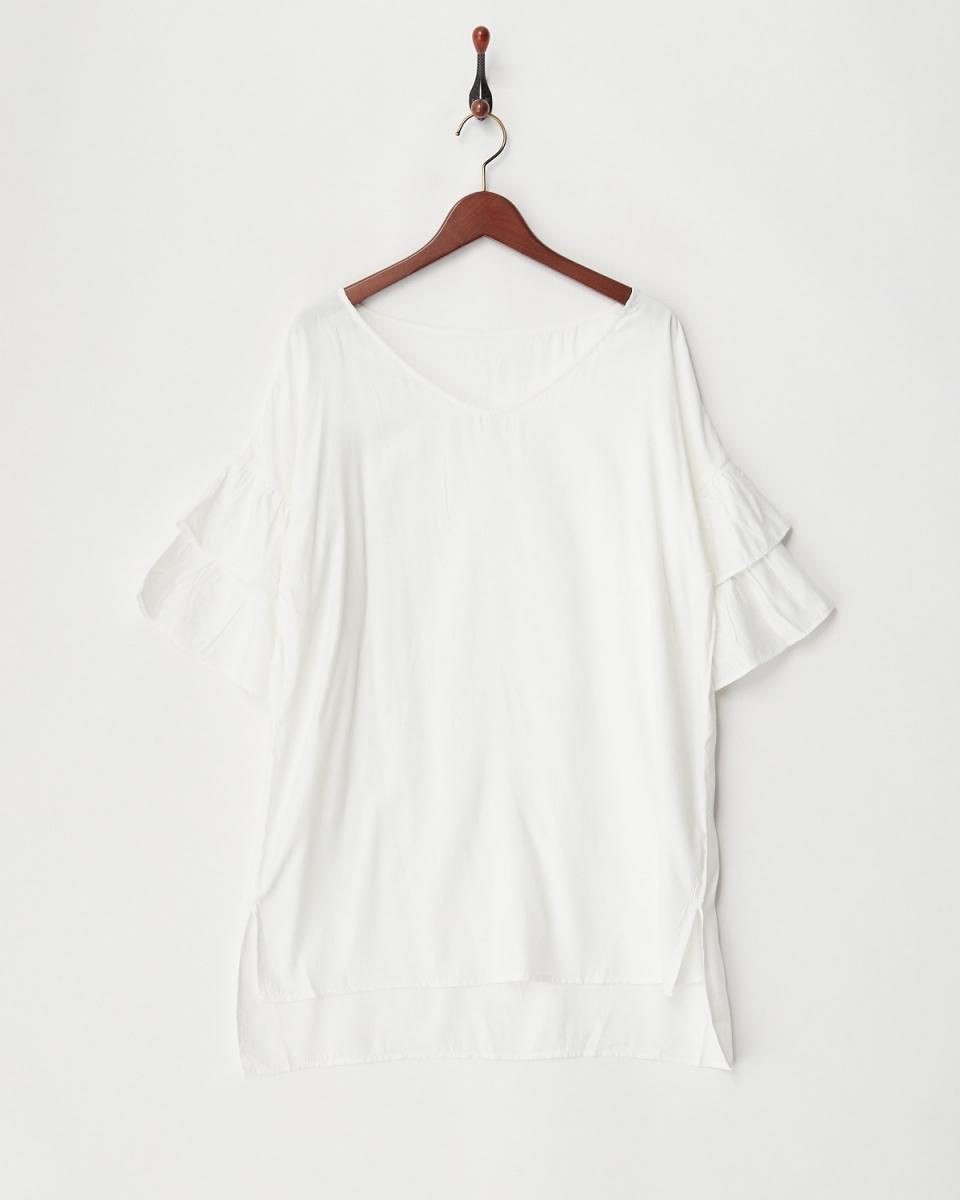 二十三個開/關分層荷葉邊袖上衣○543-50380 /女裝