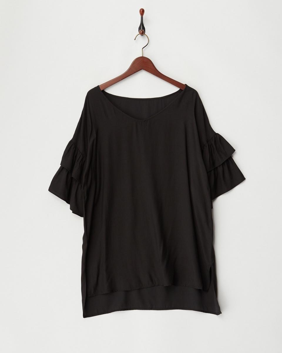 二十三/黑分層荷葉邊袖上衣○543-50380 /女裝
