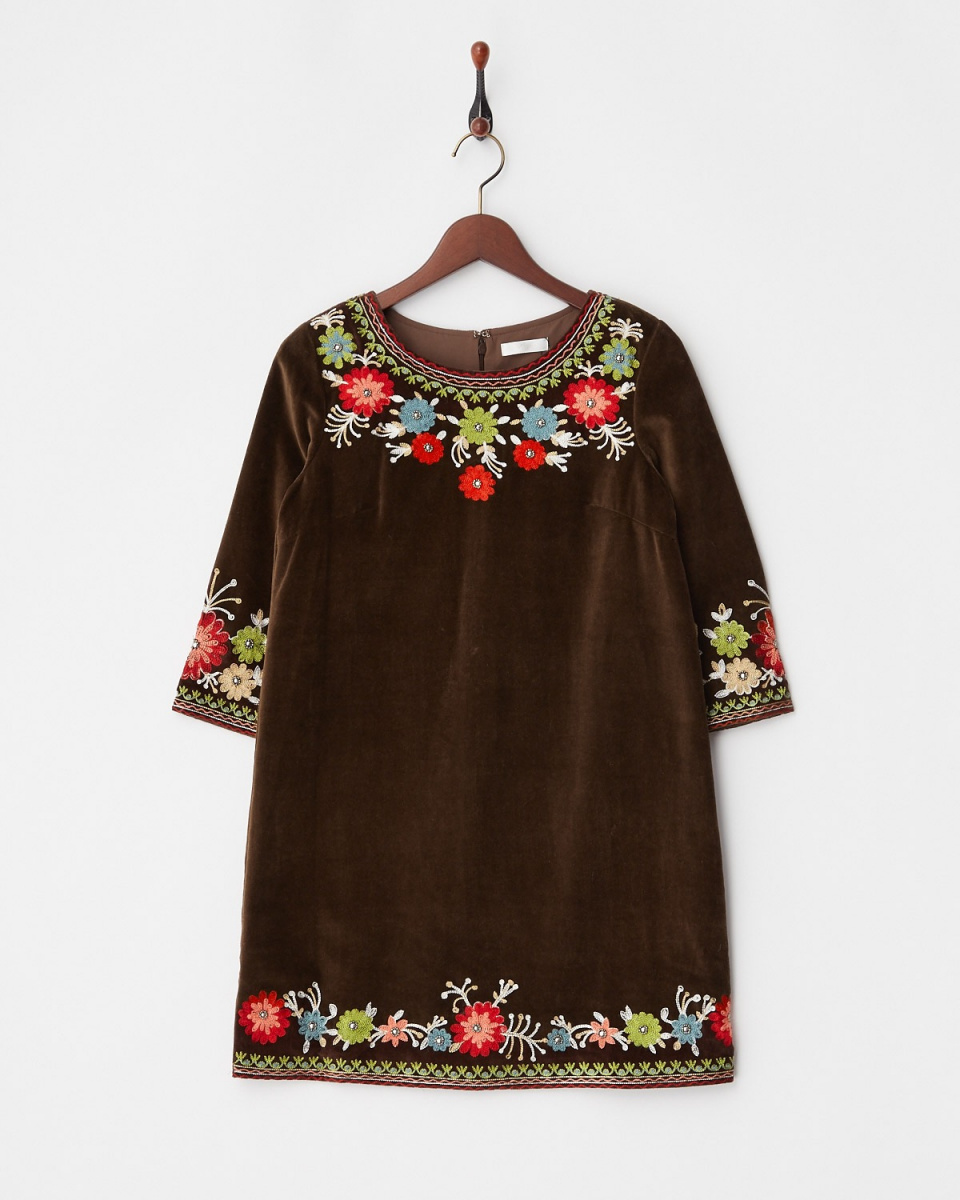 MIIA / Brown embroidery A-line dress ○ 32731411 / Women's