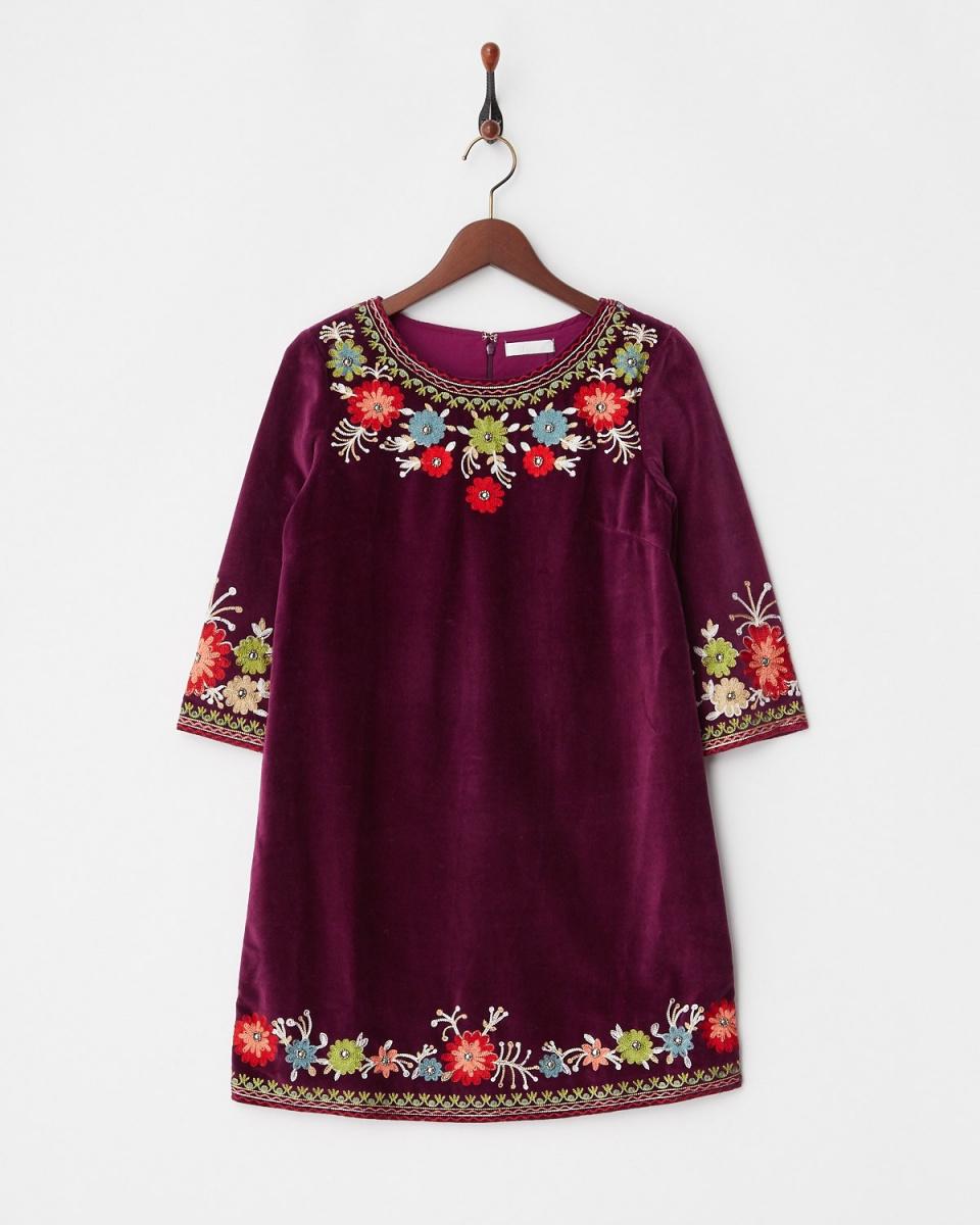 MIIA /波尔多(紫)绣花的A字裙○32731411 /女子