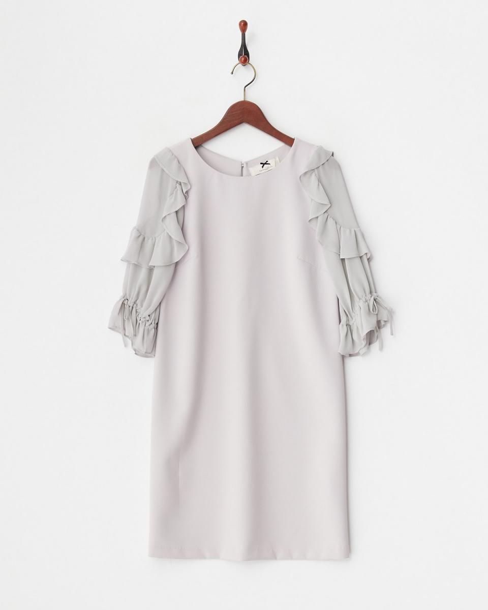 Supreme.La.La /冰灰色的sode褶边连衣裙直○181-OP016 /女装