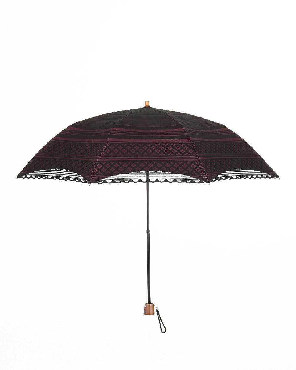 Bronze / black × wine rain or shine combined double-clad border folding umbrellas | WOMEN ○ T54248