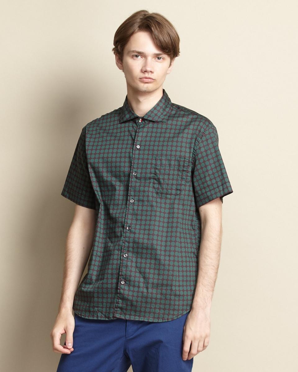 普兰迪/绿色圆点短袖衬衫/男装